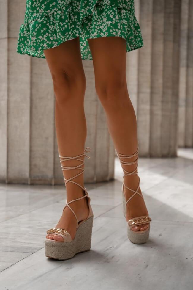 Πλατφόρμες Lace Up με Διακοσμητική Αλυσίδα