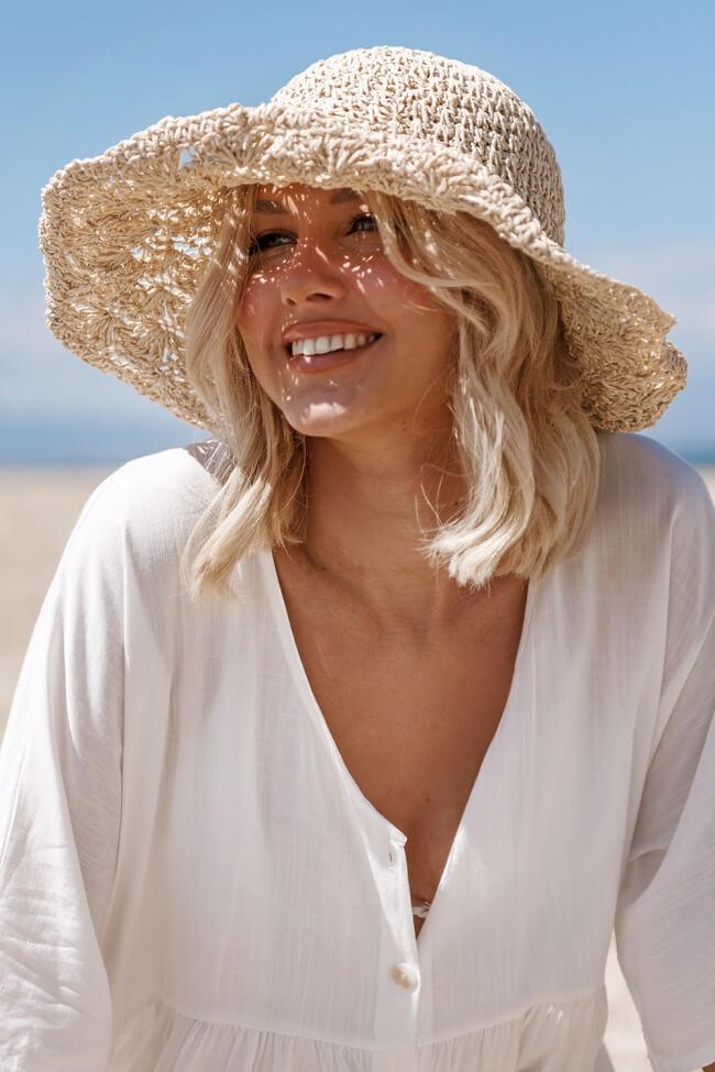 Ψάθινο Καπέλο με Κορδέλα Κέντημα