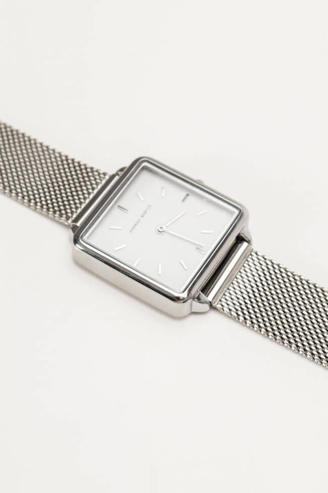 Ρολόι Μεταλλικό Χειρός Τετράγωνο