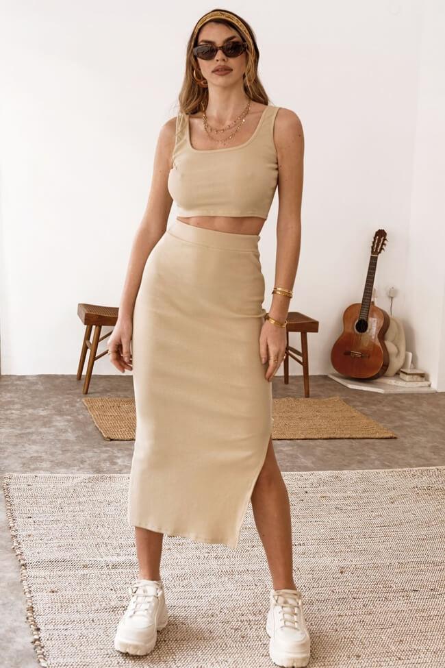 Σετ Ελαστική Φούστα με Τοπ Ριπ