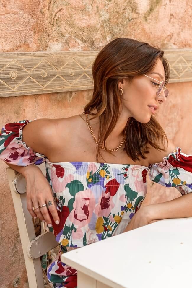 Σετ Floral Shorts με Top Off Shoulder