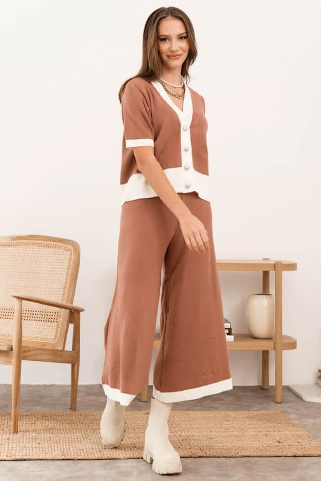 Σετ Μάλλινη Μπλούζα με Παντελόνι Zip Cullote