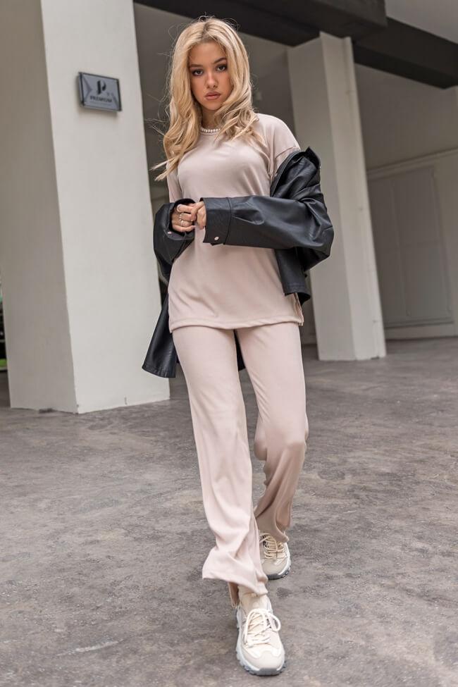 Σετ Παντελόνα Μπλούζα Rip Ελαστική με Σκισίματα στο Πλάι