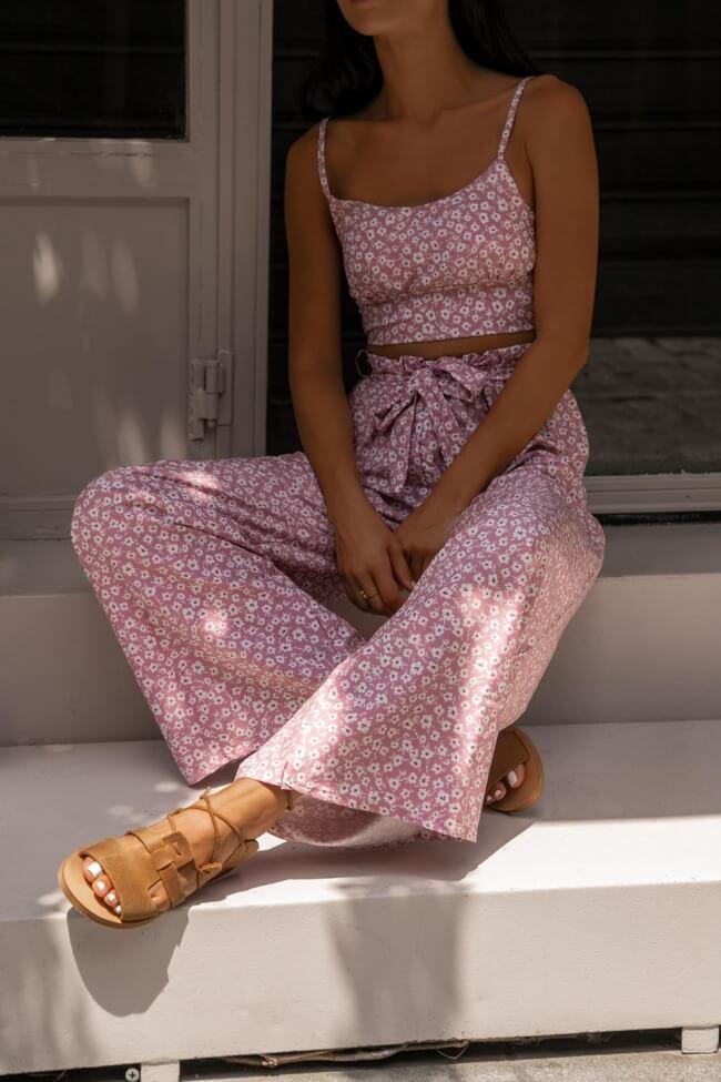 Σετ Ρούχων Floral Top με Παντελόνα