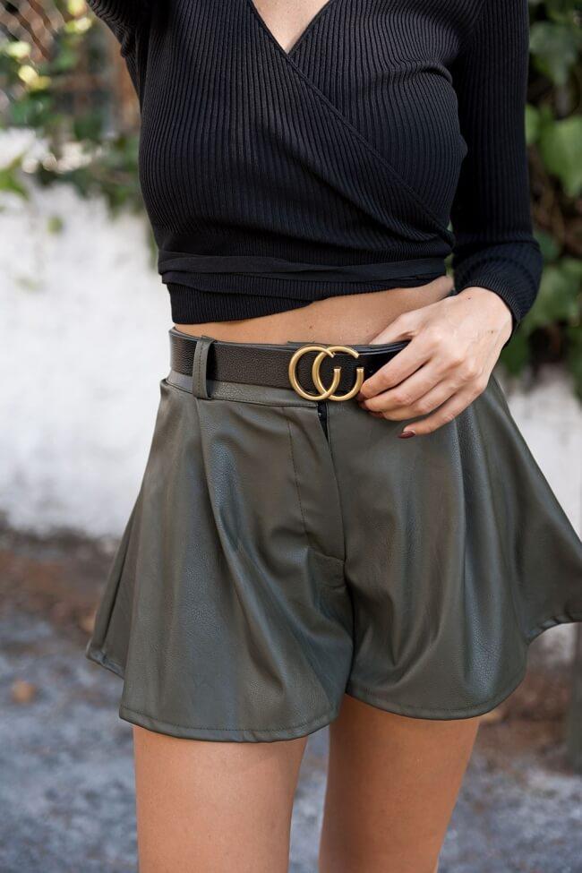 Shorts Δερματίνη με Ζώνη