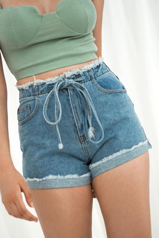 Shorts Jean με Ξέφτια & Κορδόνια