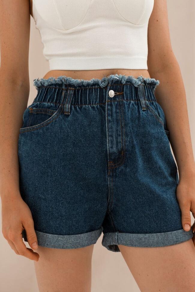 Shorts Jean με Λάστιχο