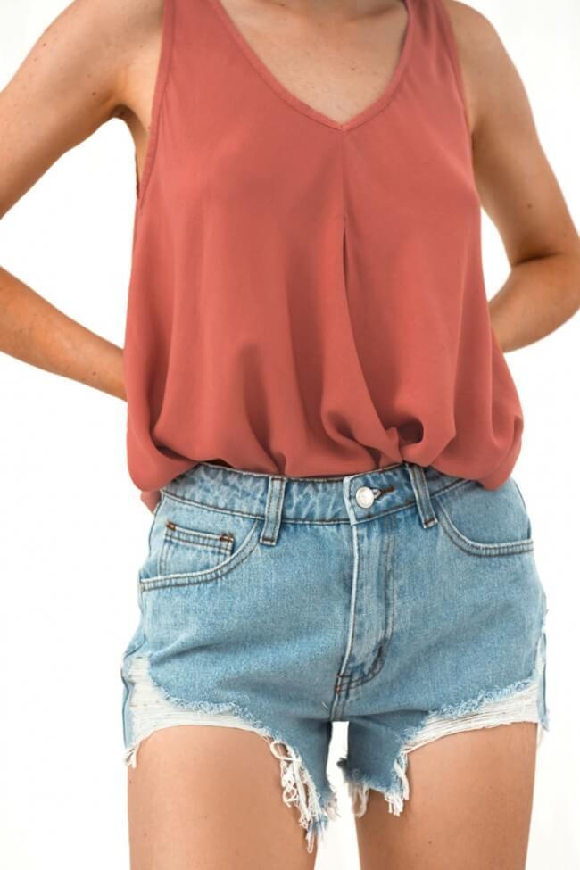 Shorts Jean με Σκισίματα