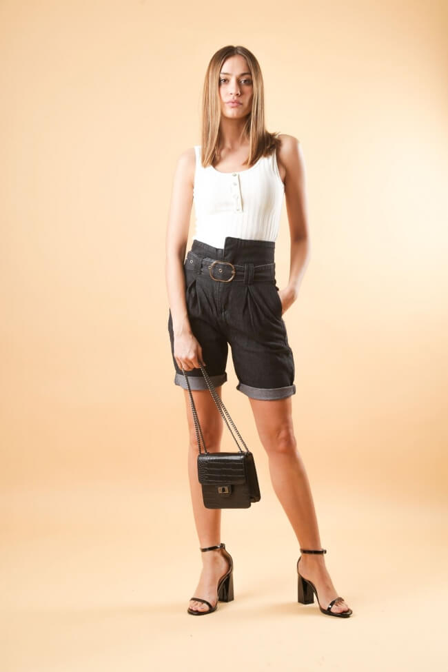 Shorts Jean με Ζώνη