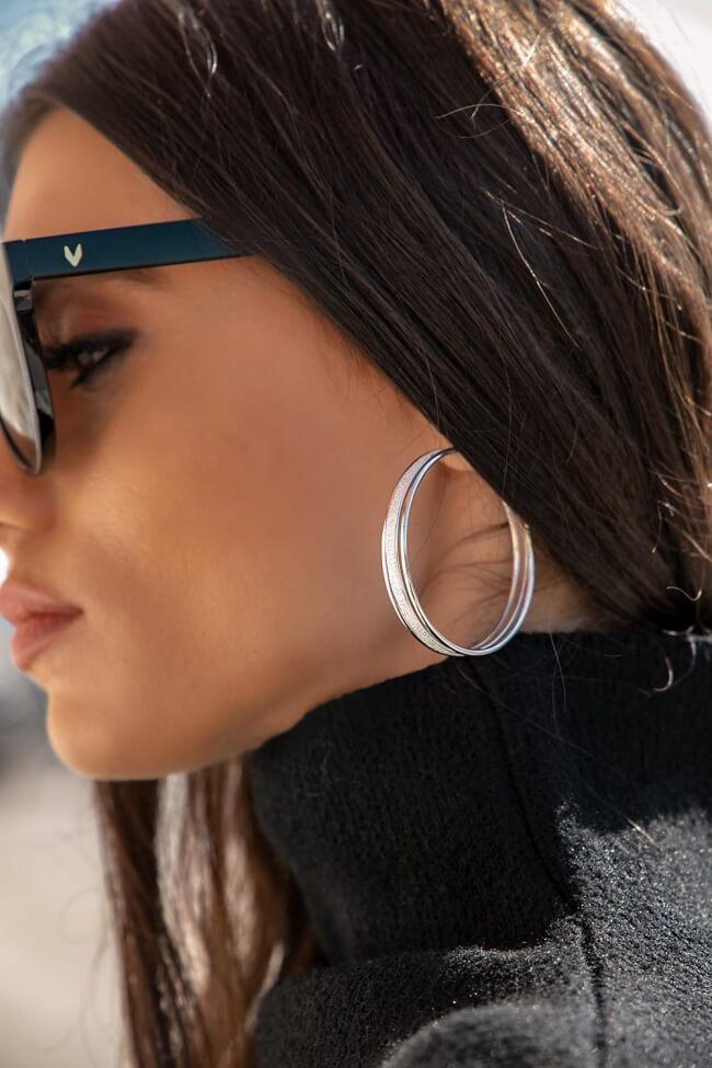 Σκουλαρίκια Κρίκοι με Glitter