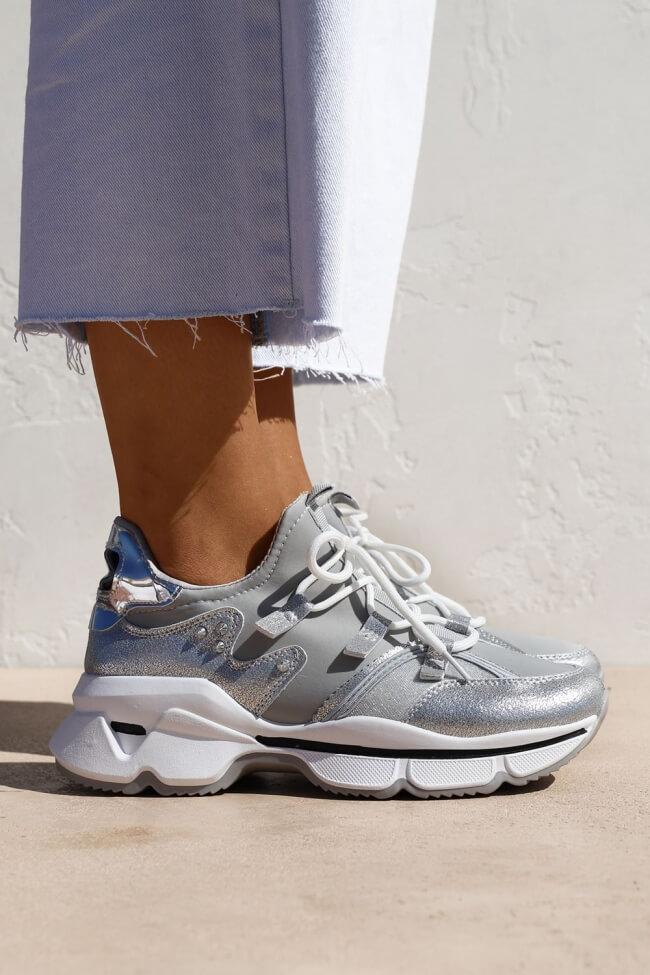 Sneakers Κάλτσα με Διακοσμητικά Κορδόνια & Glitter
