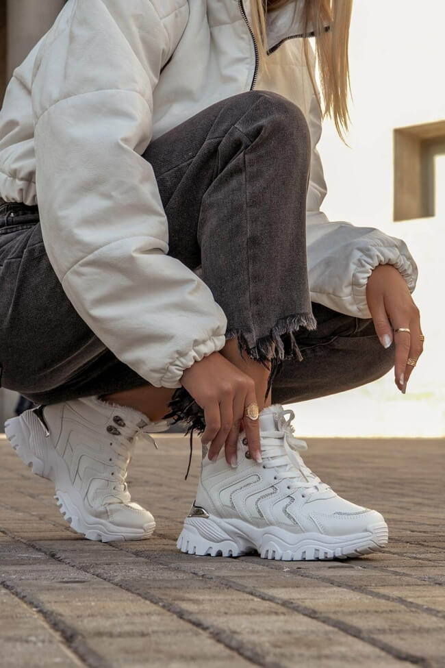 Sneakers με Εσωτερική Επένδυση Γούνας & Glitter