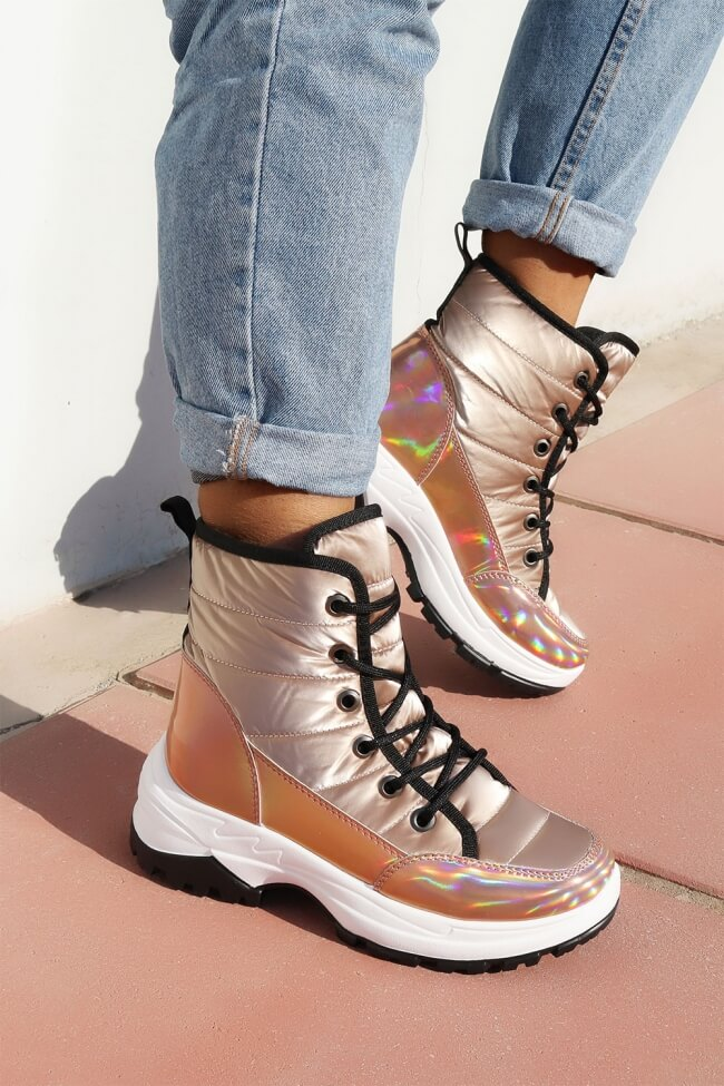 Sneakers Μποτάκια με Επένδυση Γούνας