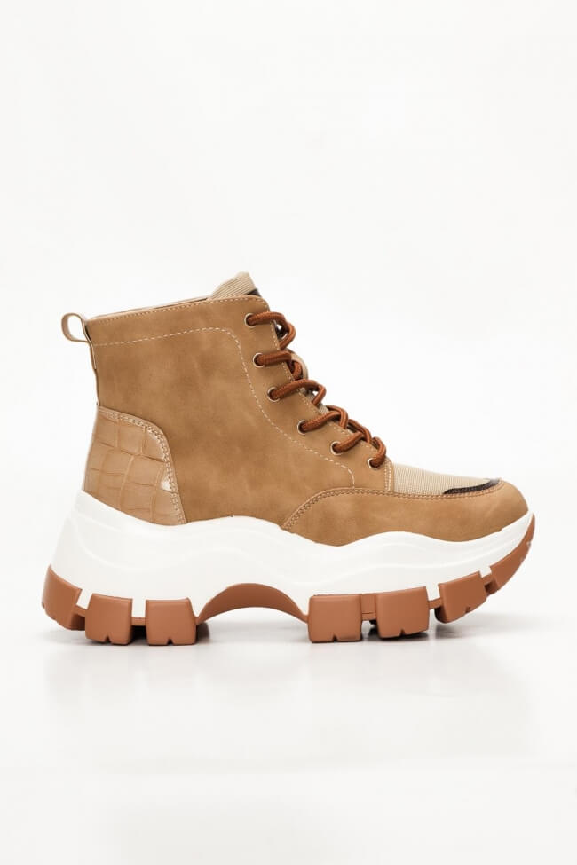 Sneakers Μποτάκια με Λεπτομέρεια Croco