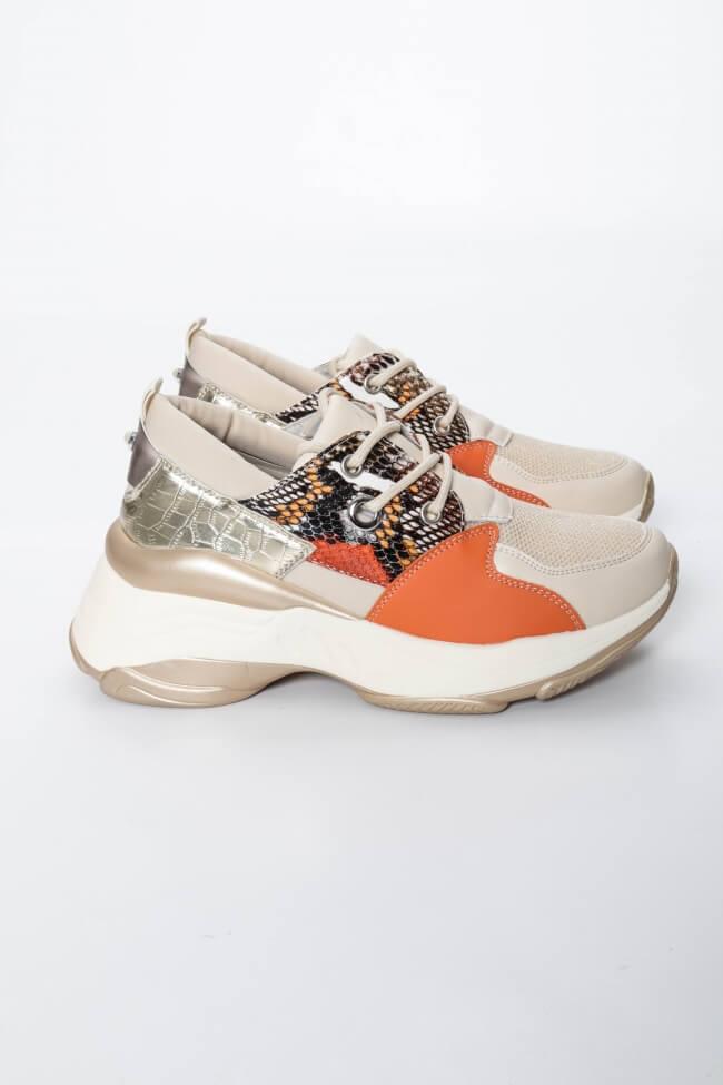 Sneakers σε Συνδυασμό Χρωμάτων με Λεπτομέρεια Snake Print
