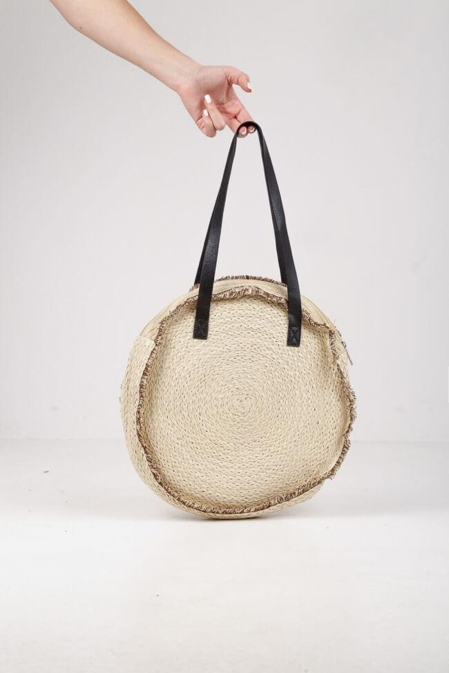 Στρόγγυλη Τσάντα Ψάθινη Ώμου