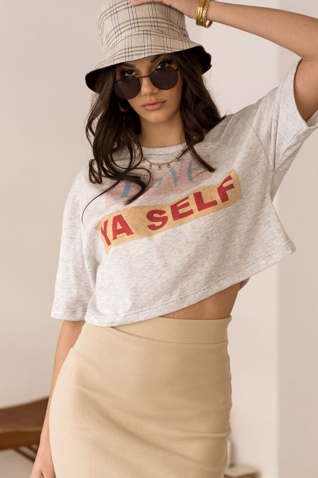 T-Shirt Crop Love Ya Self
