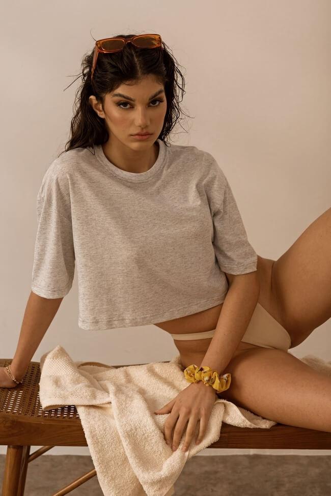 T-Shirt Crop Μονόχρωμο