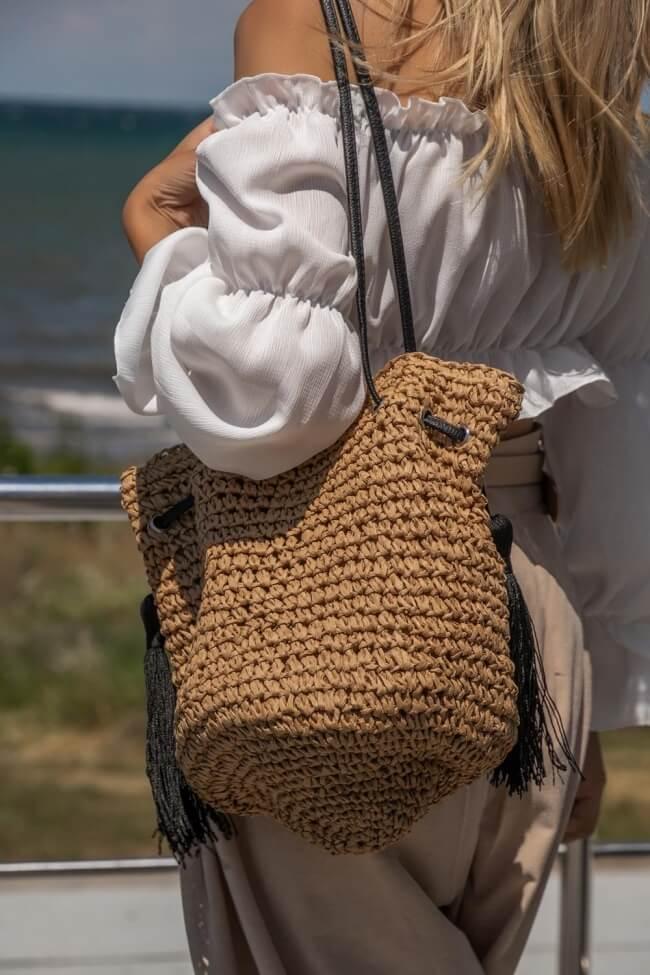 Τσάντα Ψάθινη με Διακοσμητική Φούντα