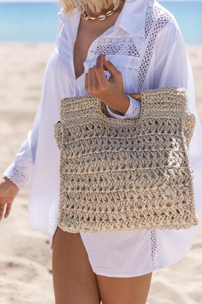 Τσάντα Ψάθινη με Ξύλινες Λαβές