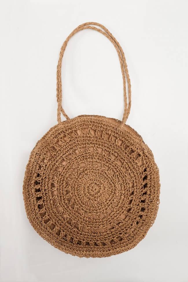 Τσάντα Ψάθινη Round με Κύκλους