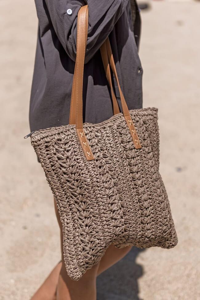 Τσάντα Ψάθινη Square με Κάθετο Σχέδιο Πλέξης