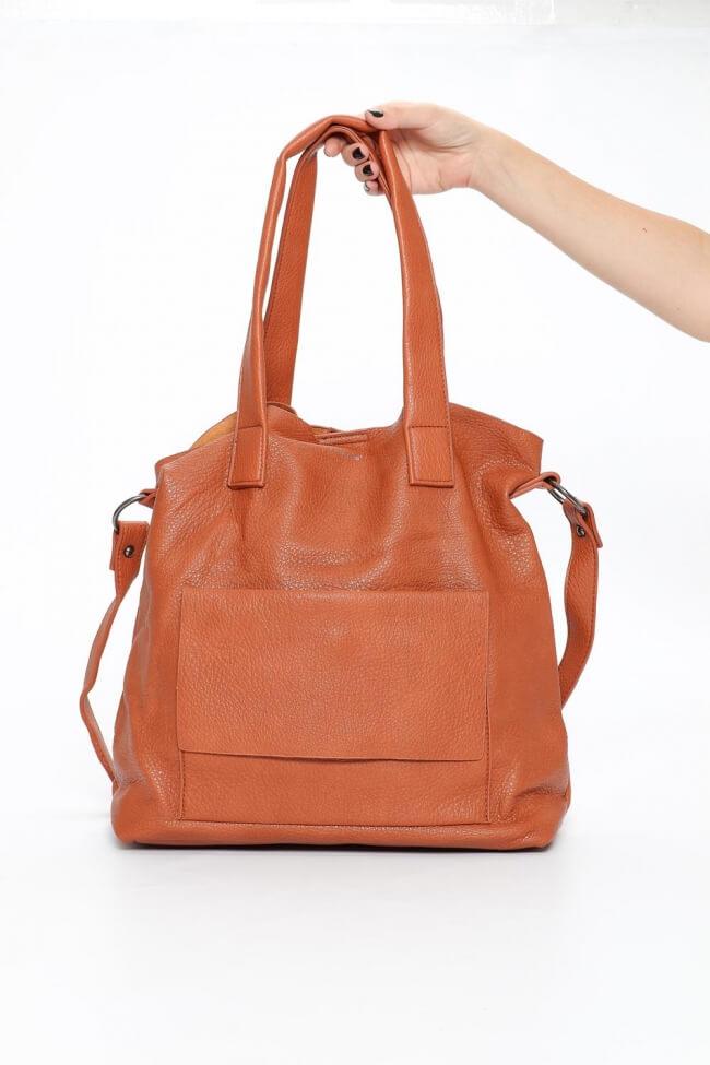Τσάντα Ώμου με Εξωτερική Θήκη